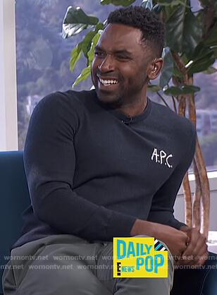 Justin's black APC sweater on E! News Daily Pop