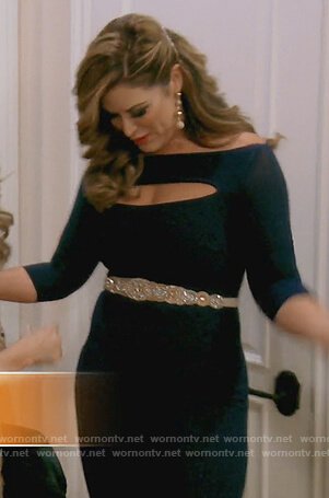 Emily's navy cutout jumpsuit on The Real Housewives of Orange County