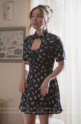 Esther's navy floral cutout dress on Alone Together