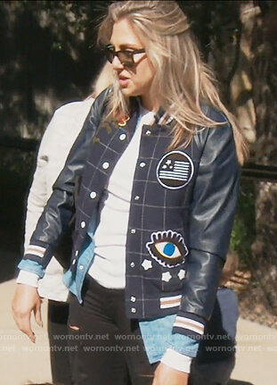 Gina's navy patch varsity jacket on The Real Housewives of Orange County