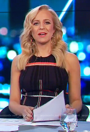 Carrie's navy striped sleeveless dress on The Project