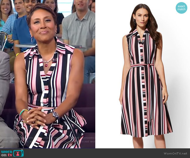 Stripe Midi Shirtdress - 7th Avenue by New York & Company worn by Robin Roberts  on Good Morning America
