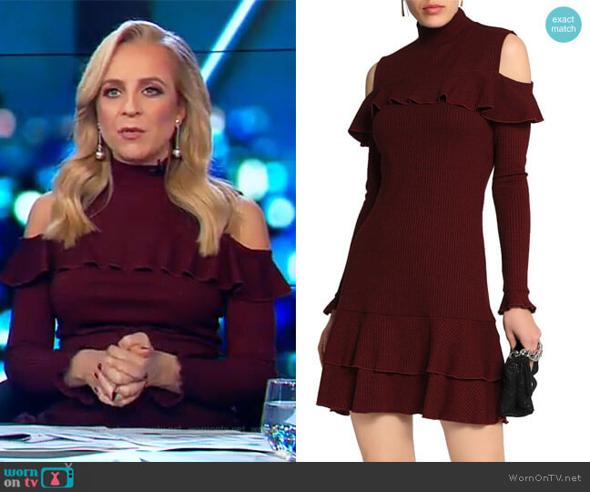 Cold-shoulder melange ribbed-knit mini dress by Nicholas worn by Carrie Bickmore on The Project