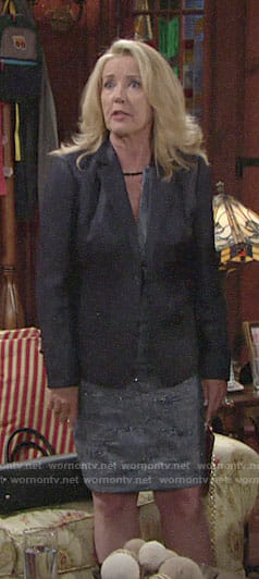 Nikki's blue metallic dress and blazer on The Young and the Restless