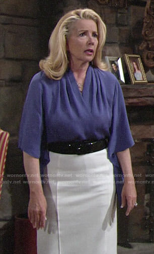 Nikki's purple draped sleeve blouse and white pencil skirt on The Young and the Restless