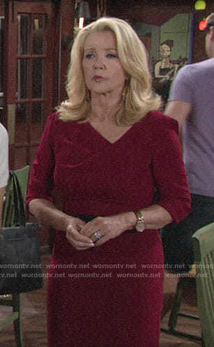 Nikki's red draped neck dress on The Young and the Restless