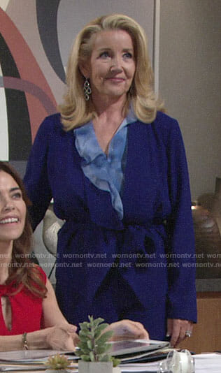 Nikki's blue ruffled blouse and tie-waist jacket on The Young and the Restless