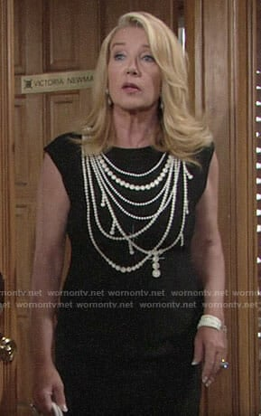 Nikki's pearl necklace print dress on The Young and the Restless
