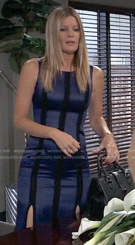 Nina's blue dress with black stripes on General Hospital