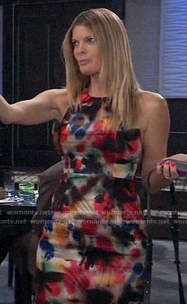 Nina's multi-colored paint splatter dress on General Hospital