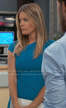 Nina's blue capped sleeve dress on General Hospital