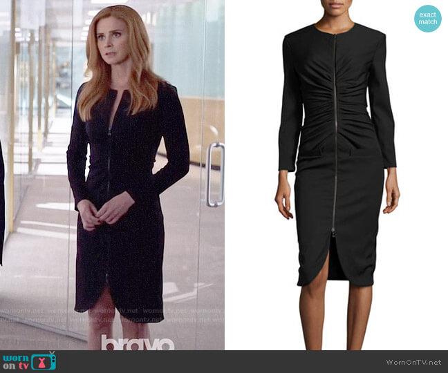Oscar de la Renta Long-Sleeve Zip-Front Dress worn by Sarah Rafferty on Suits