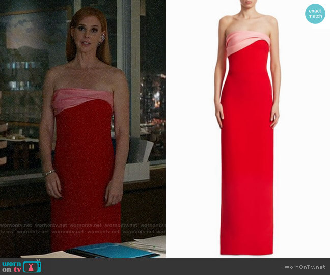 Oscar de la Renta Two-Tone Strapless Silk Gown worn by Sarah Rafferty on Suits
