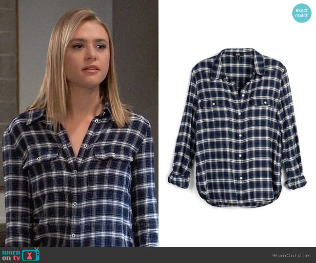 Paige Trudy Shirt worn by Kiki Jerome (Hayley Erin) on General Hospital