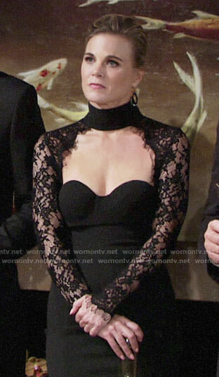 Phyllis's black lace choker neck dress on The Young and the Restless