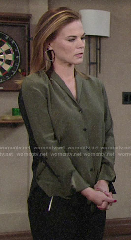 Phyllis's army green and black colorblock blouse on The Young and the Restless