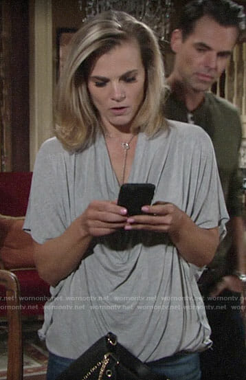Phyllis's grey draped tee on The Young and the Restless