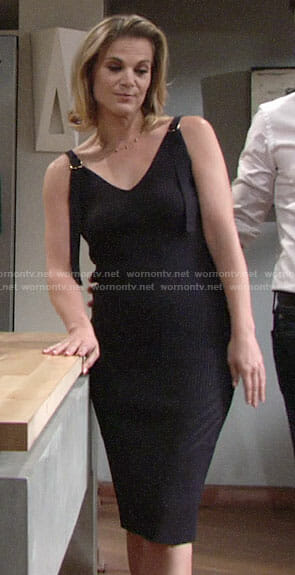Phyllis's navy ribbed dress on The Young and the Restless