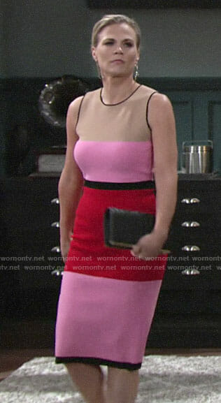 Phyllis's pink colorblock dress on The Young and the Restless
