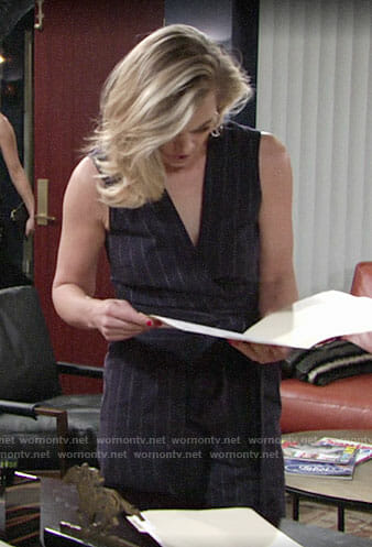 Phyllis's pinstriped jumpsuit on The Young and the Restless