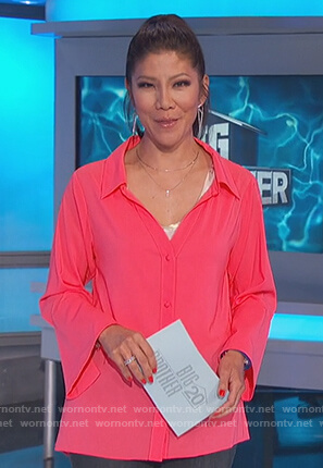 Julie's coral bell sleeve blouse on Big Brother