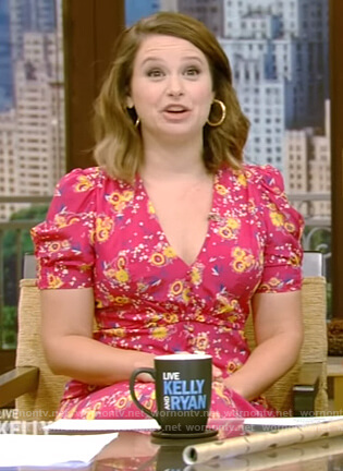 Katie Lowes pink floral v-neck dress on Live with Kelly and Ryan