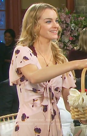 Claire's pink floral front tie dress on Days of our Lives