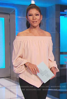 Julie's pink off shoulder top on Big Brother