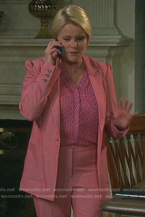 Adrienne's pink suit and printed blouse on Days of our Lives
