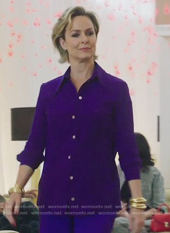 Jacqueline's purple pleated blouse on The Bold Type