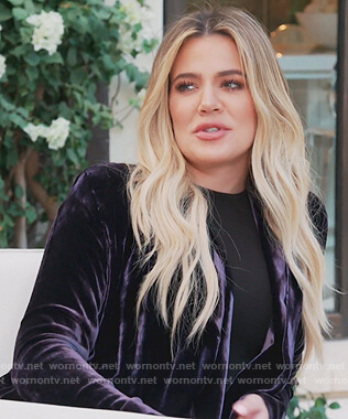 Khloe's purple velvet coat on Keeping Up with the Kardashians