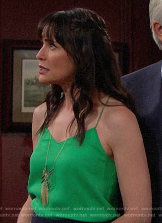 Quinn's green cami and fringed necklace on The Bold and the Beautiful