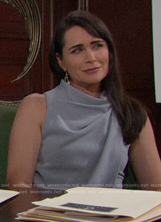 Quinn's grey draped dress and crystal feather earrings on The Bold and the Beautiful