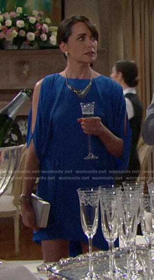 Quinn's blue split sleeve dress on The Bold and the Beautiful