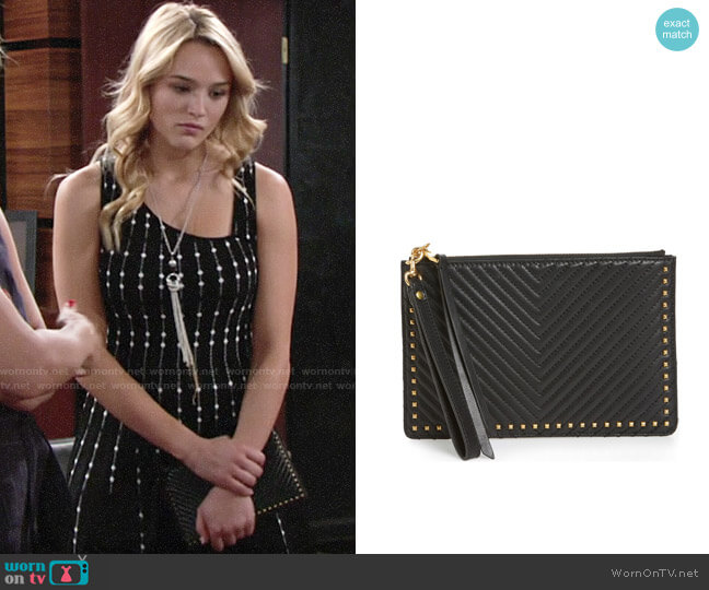 Rebecca Minkoff Quilted Leather Wristlet Pouch worn by Summer Newman (Hunter King) on The Young & the Restless