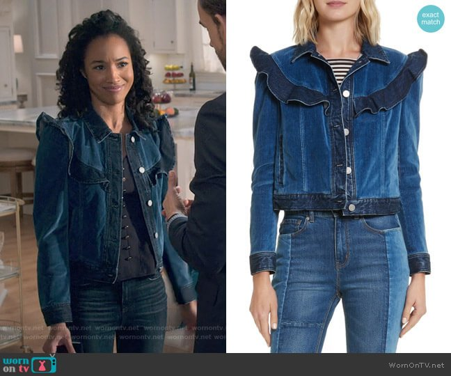 Velvet Denim Jacket by Rebecca Taylor worn by Magnolia Barnard (Erinn Westbrook) on Insatiable