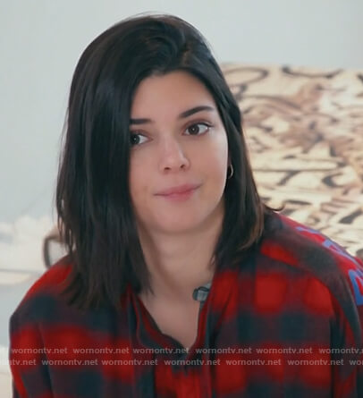 Kendall's red check shirt on Keeping Up with the Kardashians