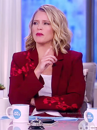 Sara's red floral embroidered blazer on The View