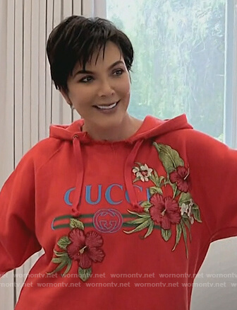 Kris's red Gucci floral embroidered hoodie on Keeping Up with the Kardashians