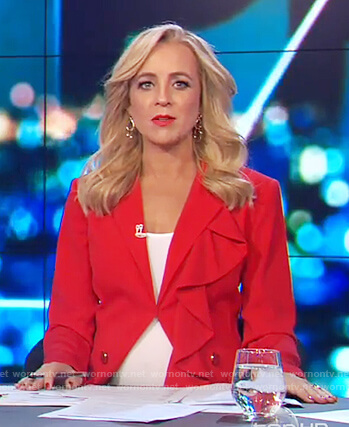 Carrie's red ruffle blazer on The Project