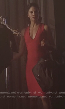 Young Camila's red strappy back v-neck dress on Queen of the South