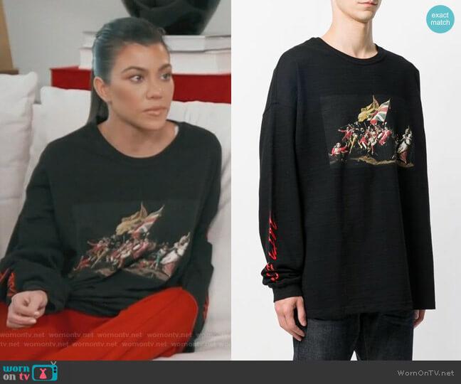Battle Print Sweatshirt by Represent worn by Kourtney Kardashian on Keeping Up with the Kardashians