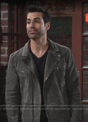 Rey's grey suede jacket on The Young and the Restless