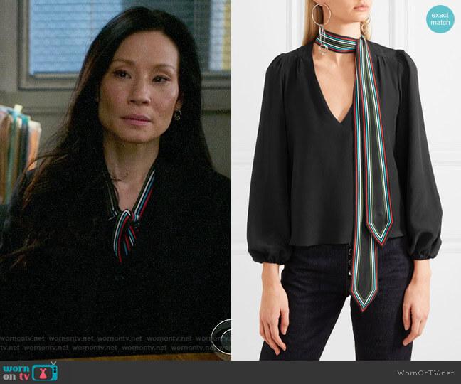 Rixo London Kate Blouse worn by Joan Watson (Lucy Liu) on Elementary