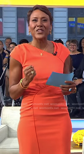 Robin's orange gathered dress on Good Morning America