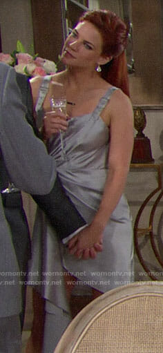 Sally's silver buckled strap dress on The Bold and the Beautiful