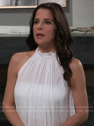 Sam's white ruffled neck top on General Hospital