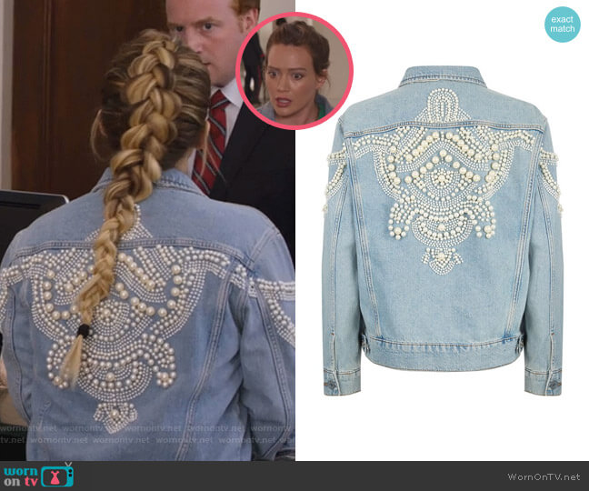 Eriko Denim Jacket by Sandro  worn by Hilary Duff on Younger