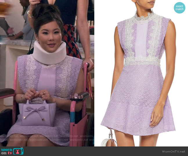 Peaches Lace Dress by Sandro worn by Dixie Sinclair (Irene Choi) on Insatiable