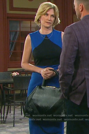 Eve's blue two-tone sheath dress on Days of our Lives